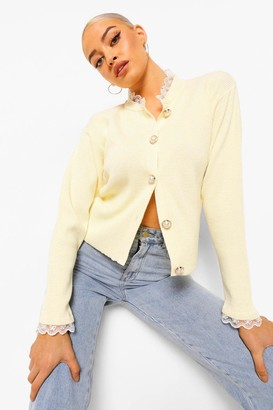 boohoo High Neck Lace Collar 2 In 1 Cardigan