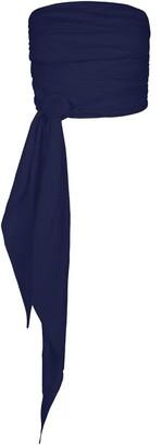 Berta Cabestany Crema Draped Navy Linen Crop Top