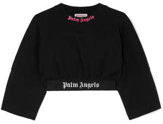 Palm Angels Cropped Intarsia-trimmed Printed Cotton-jersey T-shirt - Black