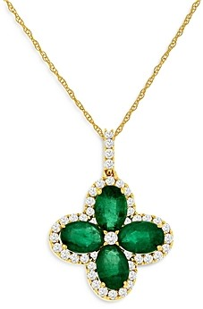Bloomingdale's Emerald & Diamond Clover Pendant Necklace in 14K Yellow Gold, 18 - 100% Exclusive