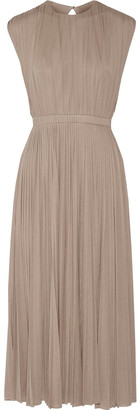 Valentino Pleated Silk-jersey Midi Dress