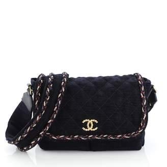 Chanel Petite Shopping Tote Blue Velvet Handbags