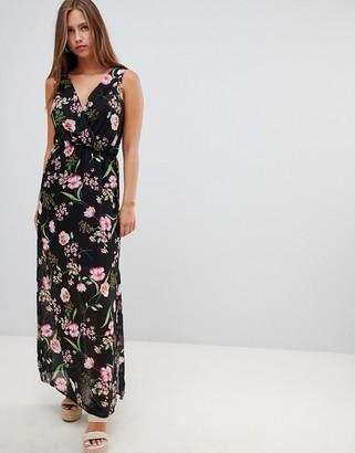 Gilli sleeveless floral maxi dress-Black