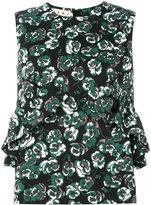 Marni Poetry Flower ruffled shell top - women - Cotton/Linen/Flax - 40