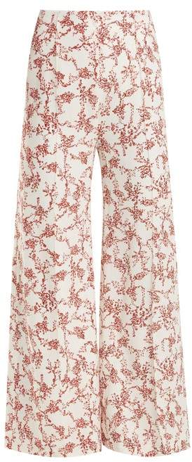 Emilia Wickstead Hullinie Floral Print Crepe Trousers - Womens - Red White