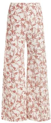 Emilia Wickstead Hullinie Floral-print Crepe Trousers - Womens - Red White