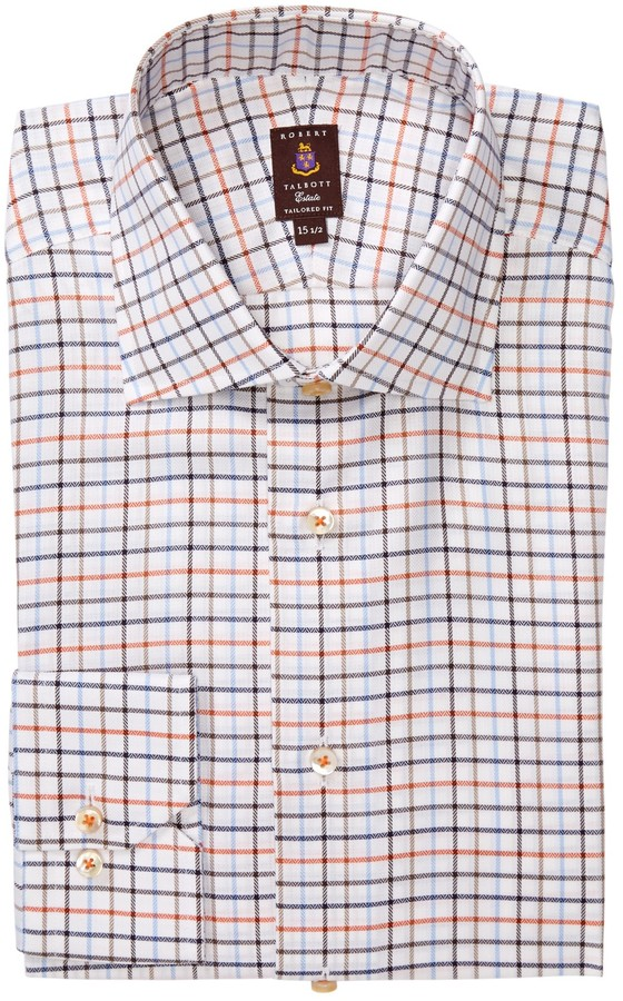 Robert Talbott Tailored Fit Windowpane Dress Shirt