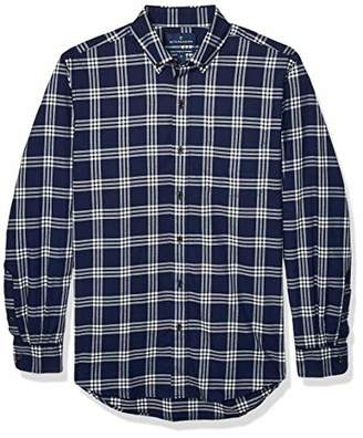 Buttoned Down Classic Fit Supima Cotton Brushed Twill Plaid Sport Shirt Button, Navy/White, L