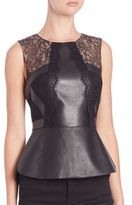 BCBGMAXAZRIA Laine Leather Lace Peplum Top