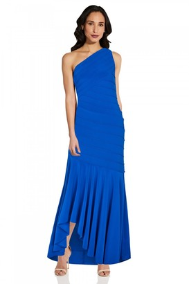 Adrianna Papell Jersey Pintuck Gown In Blue Sapphire
