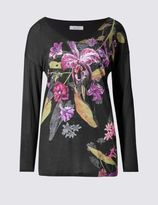 Marks and Spencer Floral Print V-Neck Long Sleeve Jersey Top