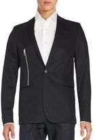 Calvin Klein Solid One-Button Zipper Blazer