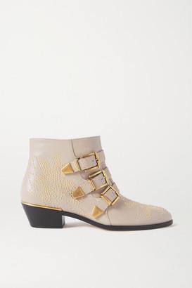 Chloé Susanna Studded Leather Ankle Boots - Beige