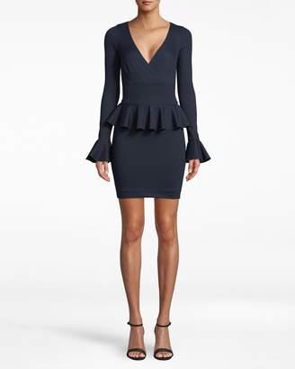Nicole Miller Long Sleeve Ponte Peplum Dress