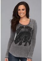 Rock and Roll Cowgirl - Skull Feathers L/S Tee (Charcoal 2) - Apparel