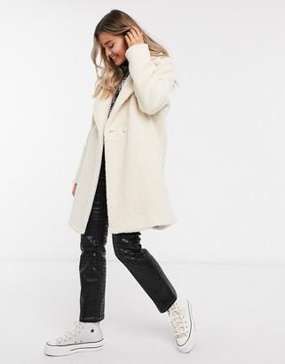Hollister teddy longline coat in cream
