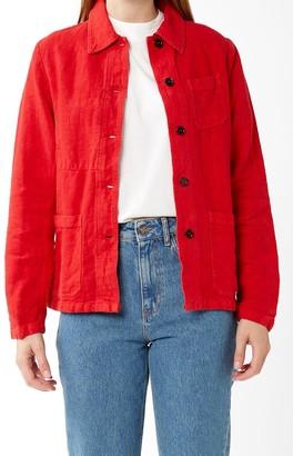 Vetra - Poppy Red Linen Overshirt - 36