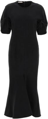 Marni Puff-Sleeve Ruched Midi Dress