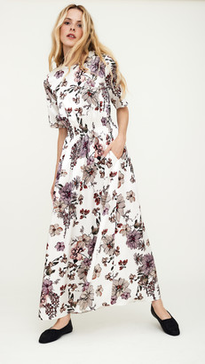 Adam Lippes Smocked Waist Gown In Printed Charmeuse