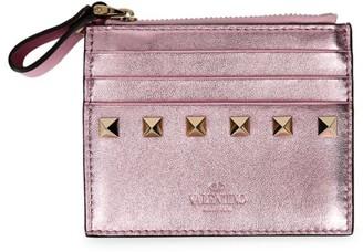 Valentino Rockstud Metallic Leather Zip Card Case