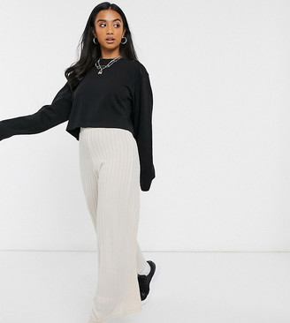 Noisy May Petite trousers with wide leg in cream