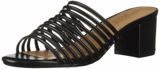 Aerosoles Women's Mid Afternoon Heeled Sandal - Opened Toed Dress Heel with Memory Foam Footbed (9M - Black Leather)