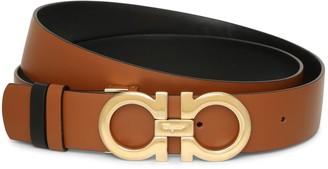 Salvatore Ferragamo Gancini Reversable and Adjustable tan belt
