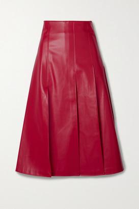 A.W.A.K.E. Mode Pleated Faux Leather Midi Skirt