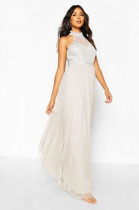 boohoo Occasion Hand Embellished Mesh Halterneck Maxi Dress