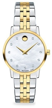 Movado Museum Mother-of-Pearl, Goldplated, Stainless Steel Diamond-Trim Bracelet Watch