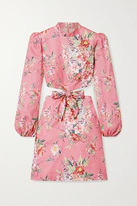 Zimmermann - Bellitude Cutout Floral-print Linen Mini Dress - Baby pink