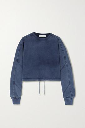 Ninety Percent Cropped Paneled Organic Cotton-jersey Sweatshirt - Navy