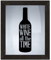 """PTM Images White Wine Time Framed Silkscreen Glass Wall Art - 21"""" x 17"""""""