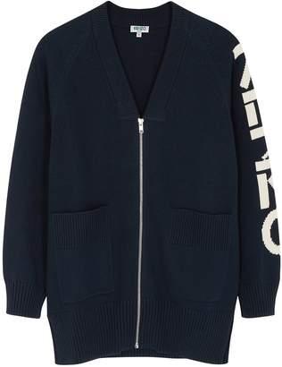 Kenzo Navy Logo-intarsia Cotton-blend Cardigan