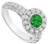 LoveBrightJewelry Emerald and Diamond Halo Engagement Ring 14K White Gold 2.25 CT TGW