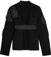 Sacai Paneled Ribbed Wool Cardigan - Black