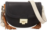 Neiman Marcus Double-Tassel Saddle Bag, Black/Multi