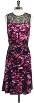 BCBGMAXAZRIA Floral & Lace Sleeveless Dress