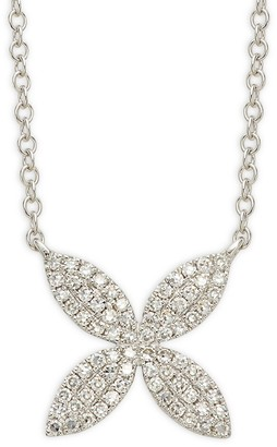 Saks Fifth Avenue 14K White Gold Diamond Flower Pendant Necklace