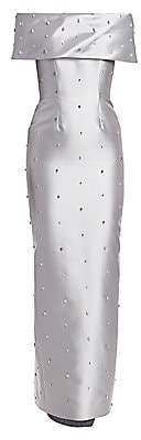 Catherine Regehr Women's Grace Off-The-Shoulder Crystal Detail Column Gown