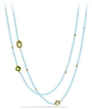 David Yurman Dy Signature Bead Necklace With Blue Topaz, Lemon