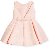 Helena Sleeveless Pleated Jacquard Fit-and-Flare Dress, Pink, Size 7-14