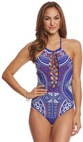 Trina Turk Jakarta Embroidery High Neck One Piece Swimsuit 8162226