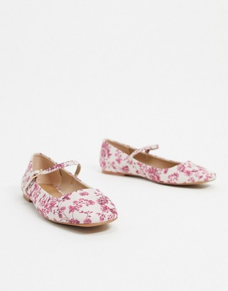 ASOS DESIGN Late mary jane ballet flats in floral