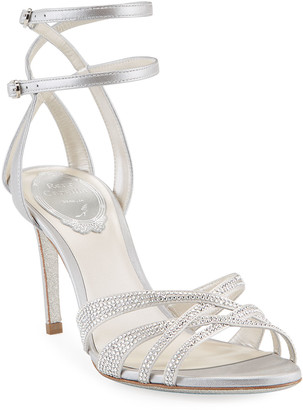 Rene Caovilla 80mm Crystal Sandals with Caged Back