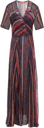 Missoni Layered Metallic Striped Crochet-knit Maxi Dress