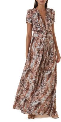 Melissa Odabash Lou Printed Belted Short-Sleeve Maxi Dress