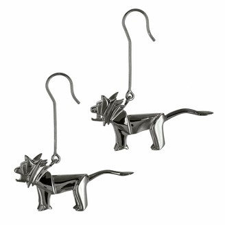 Origami Jewellery Earrings Lion Gun Metal
