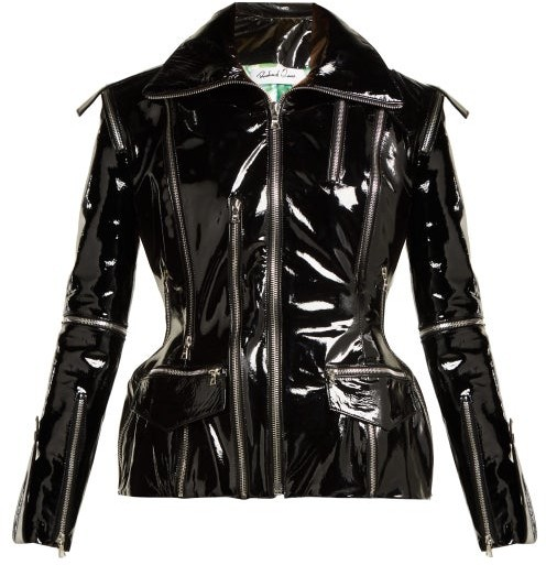 01f92d1b Zip Embellished Patent Leather Jacket - Womens - Black
