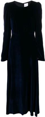 Black Coral velvet puffed-shoulder dress